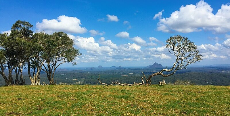 View of Glass House Mountains from One Tree Hill
