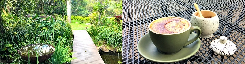 Coffee in the garden at Spicers Tamarind Retreat