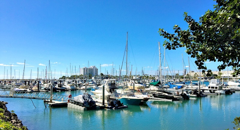 Yachts moored in Breakwater Marina Townsville