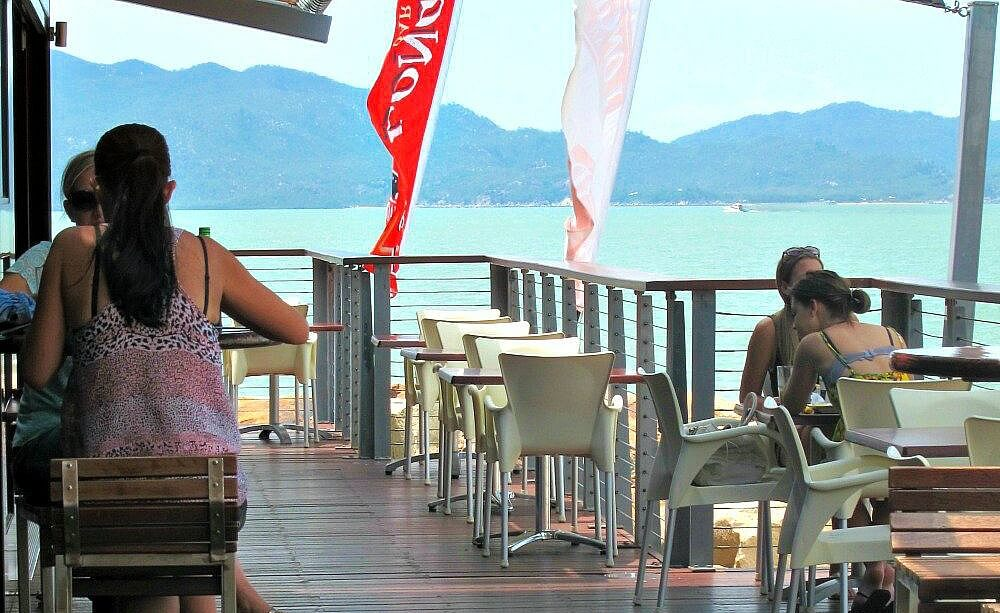 View looking across the deck of Longboard Bar & Grill toward Magnetic Island