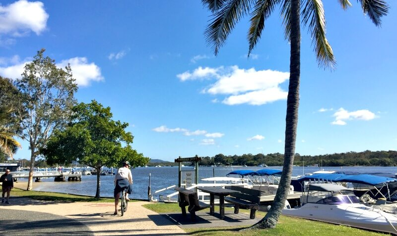 Riding beside the Noosa River in Noosaville