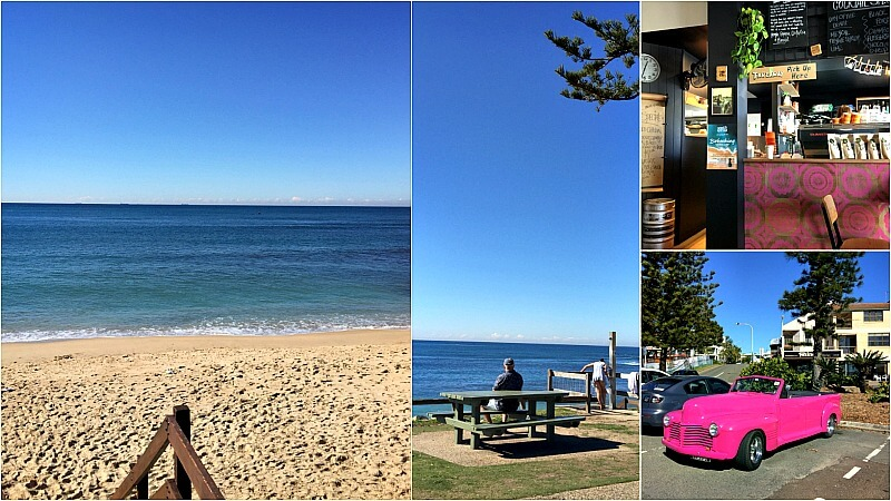A Collage of Photos taken at Moffat Beach Caloundra including beach, streetscape, vintage car and Pocket Espresso