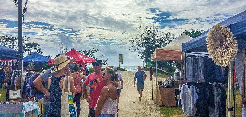 Cloudy Skies and sand underfoot at Peregian Beach Markets on the Sunshine Coast of Queensland