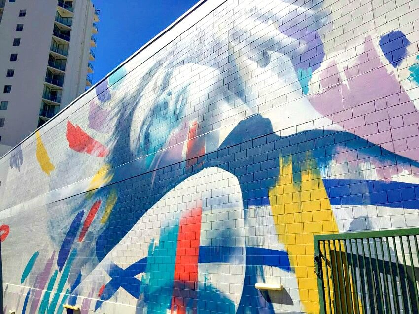Close Up of Claire Foxton Street Art in Townsville of Female Dancer