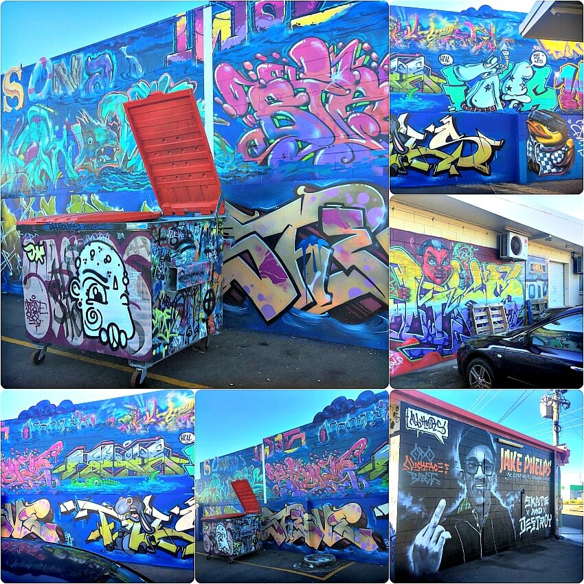 Street Art in Townsville by unknown artists behind Creative Skate Aitkenvale