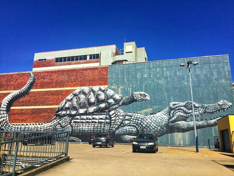 Croc and Turtle Townsville Street Art