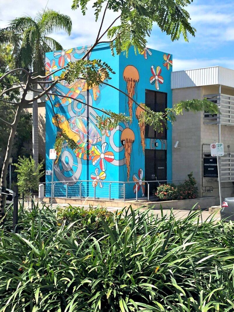 Hafleg's Turtle Street Art Blue Background Townsville