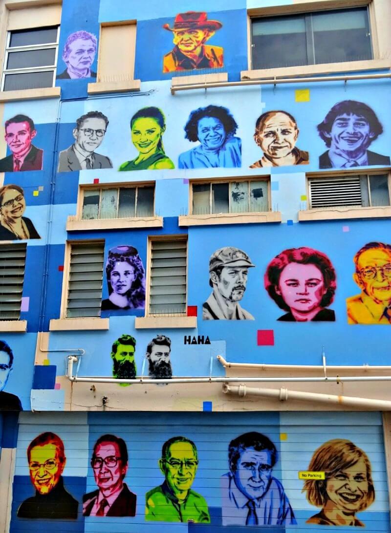 Wall of Ha Ha Street Artist portraits Denham Lane Townsville