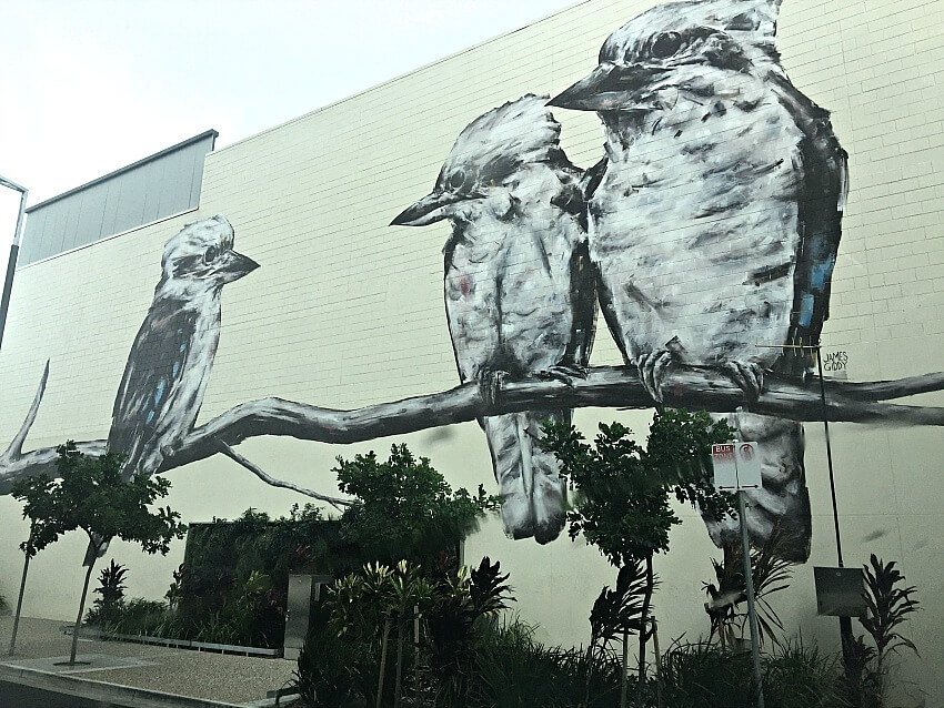 James Giddy's Three Kookaburra Mural in Hanran Street Townsville