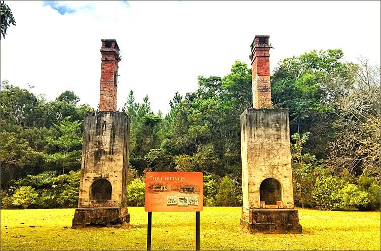 Historic free-standing double backed Danbulla Chimneys on Atherton Tablelands