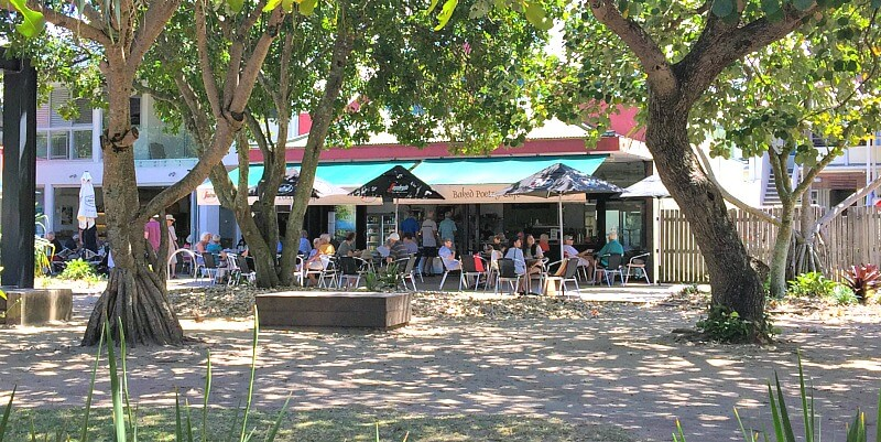 Baked Poetry Cafe Peregian Beach is a great place to eat Sunshine Coast with dogs because of the cool village square