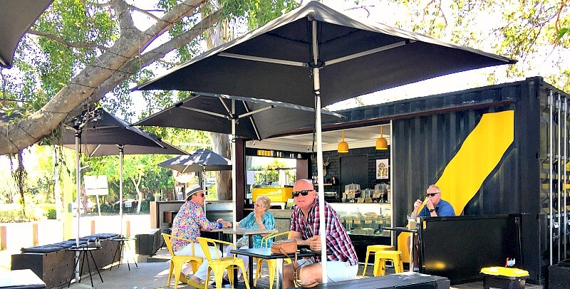 Under the trees at Bullitt Cafe Noosa