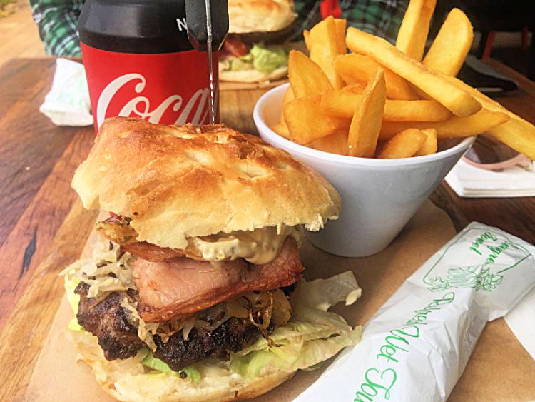 Burger with chips and coke at Burger Bar Noosaville