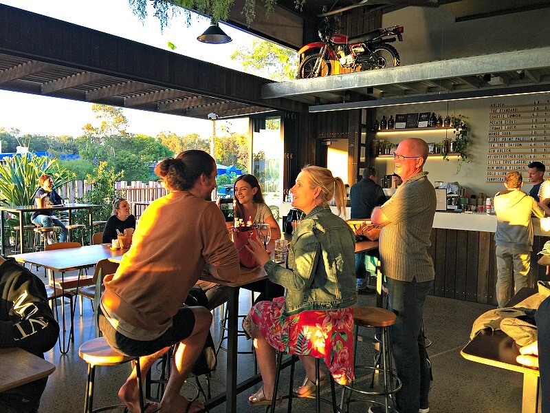 Drinks at dusk at Noosa Land and Sea Brewery