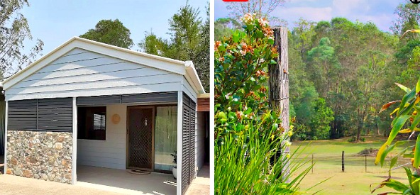 Collage showing front exterior of Cooran Airbnb and Acreage Views