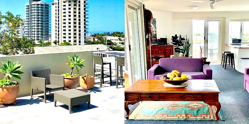 Collage of Cotton Tree Airbnb Apartment Maroochydore showing rooftop terrace and lounge room
