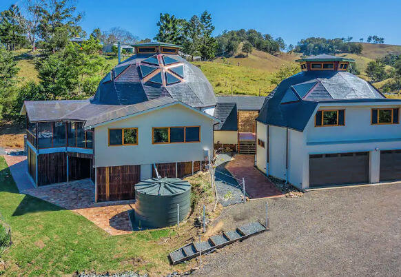 Shot from above Geodesic Dome at Kin Kin Sunshine Coast