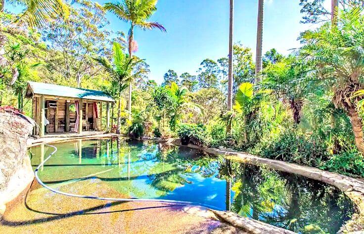Swimming Pool with Rustic Pergola at Noosa Hinterland Spectacular