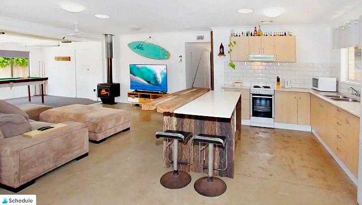 Kitchen Lounge Dining Pool Table at Warana Beachside Dog Friendly House
