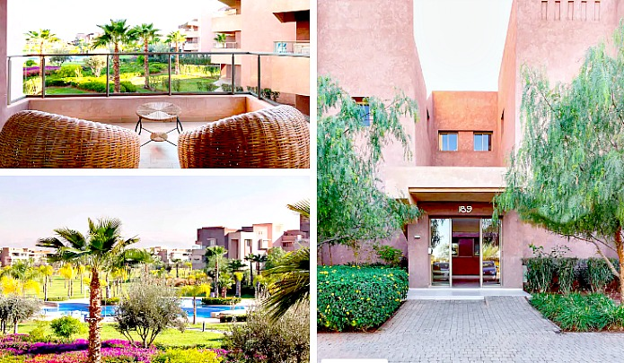 Exterior view of Airbnb Marrakech showing front entrance, pool and balconhy
