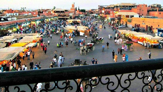 Food Market in Jemaa El Fna Marrakech at Dusk