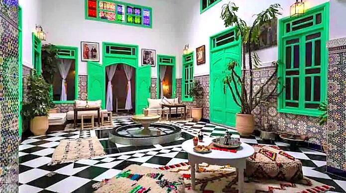 Interior of Riad Rose Meryam in Marrakech Medina