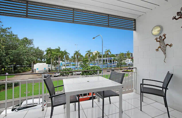 View of Airbnb Apartment Balcony overlooking Tobruk Baths Townsville