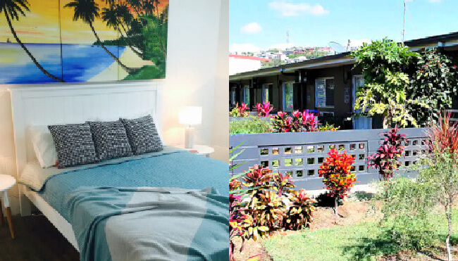 bedroom and garden at Pineapple House behind the Strand Townsville