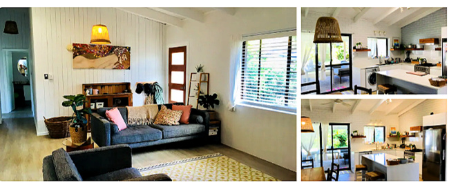 Interior of Coolum Beach Dog Friendly Accommodation showing dining, kitchen and living area
