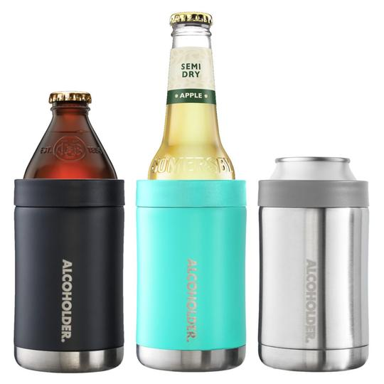 Three different drink bottle and can holders