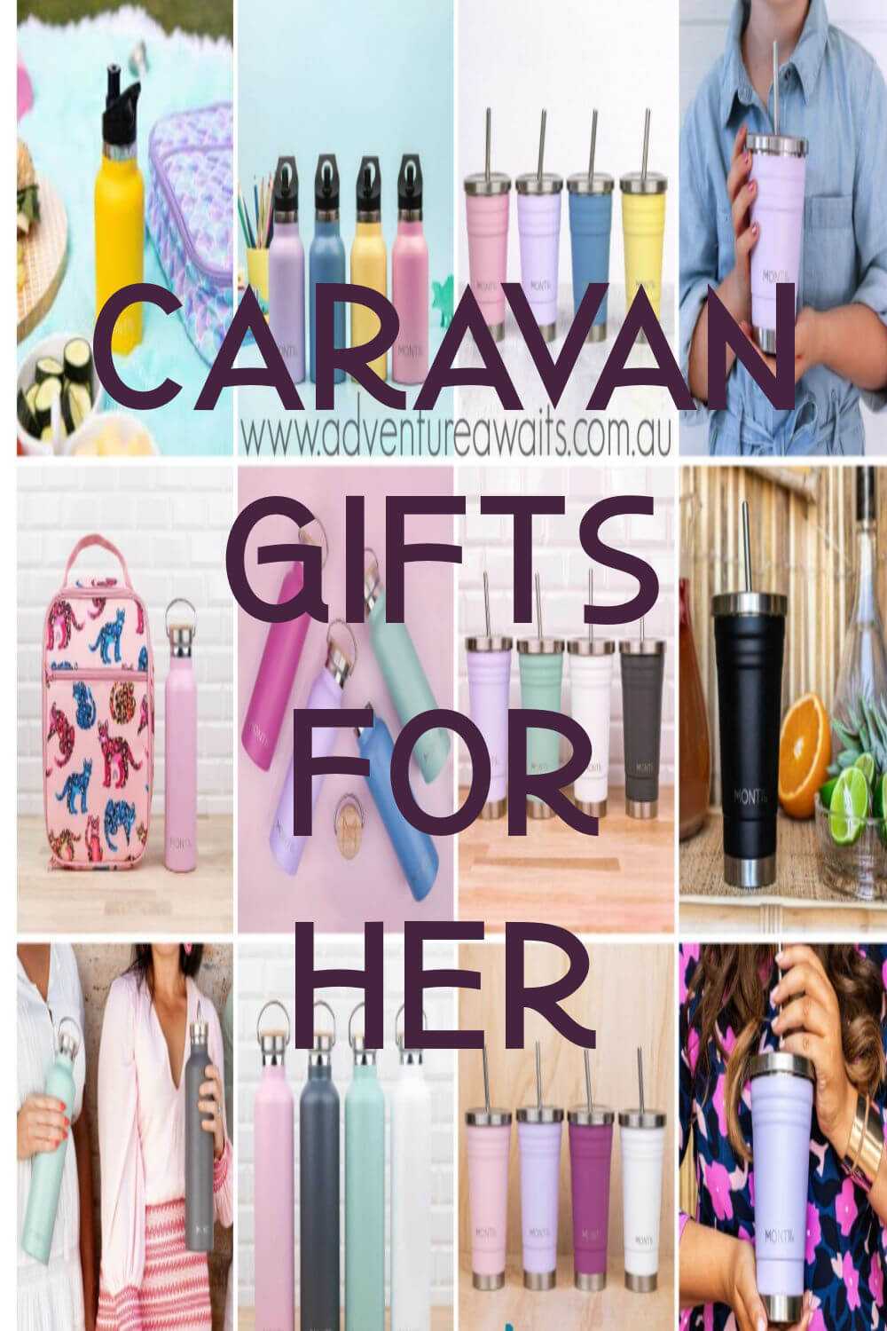 Pinterest Pin of Caravan Gifts for Her Showing Travel Cups