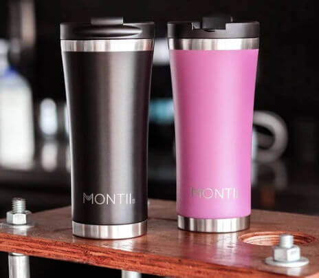 Montiico Rose and Black 475 ml insulated cups for Caravans and Camping Gifts