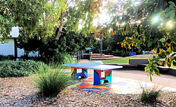 Colourful permanent Table Tennis Table at Jack Morgan Park Coolum Beach Sunshine Coast