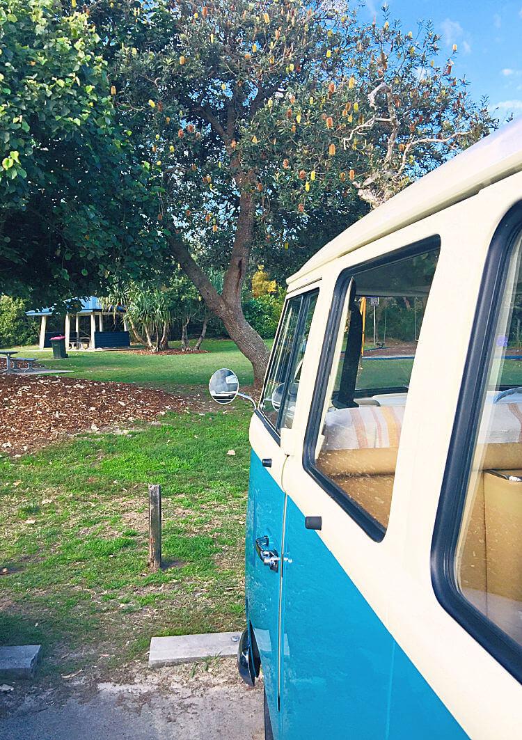 Blue Kombi Van at Stumers Creek Sunshine Coast Picnic Spot