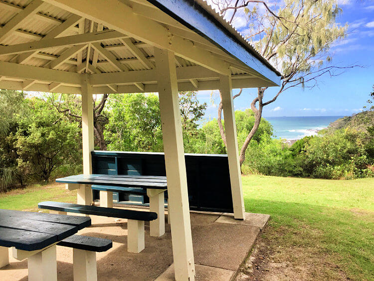 Picnic Shelter at Third Bay Coolum with ocean backdrop