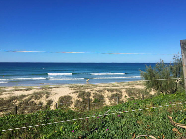 View of sand dunes and ocean from Tickle Park Picnic Spot Sunshine Coast