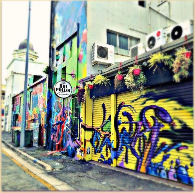 Hoi Polloi Cafe Denham Lane Tonsville covered in street art