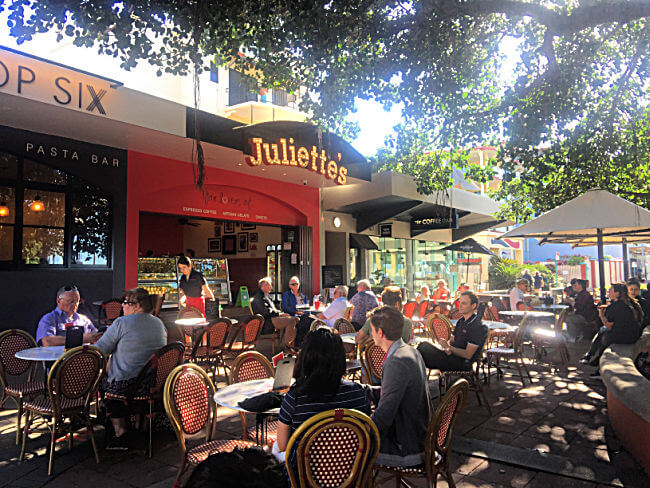 Cafe Seating beneath the trees at Juliette's The Strand